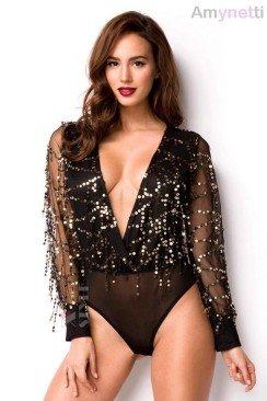 Черная блузка-боди с блестками