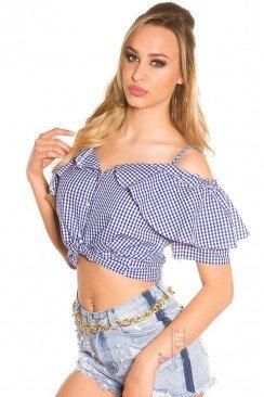 Летняя клетчатая блузка MF1200
