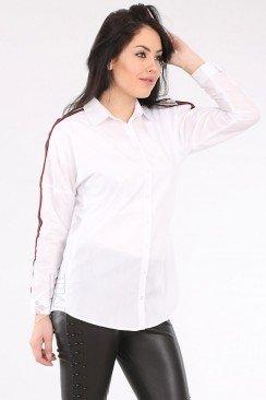 Белая женская рубашка с лампасами BD3025