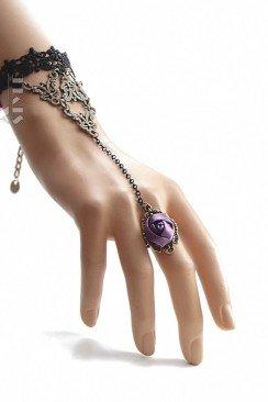 Браслет с кольцом и розой