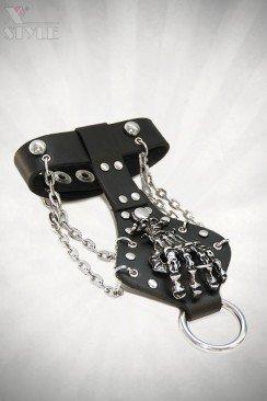 Кожаный браслет Рука скелета 710145