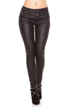 Черные джинсы с эффектом кожи MF085