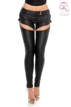 Джинсовые брюки с имитацией кожи