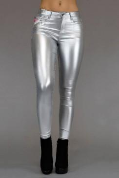 Серебристые облегающие брюки X8111