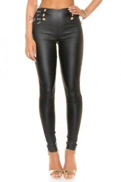 Кожаные брюки с высокой талией KouCla