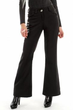 Черные брюки клеш на флисе X8051