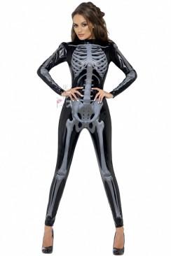 Кэтсьюит под кожу с принтом скелета