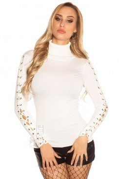 Белая водолазка-свитер KouCla