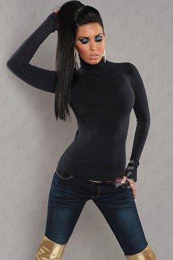 Женская черная водолазка KouCla