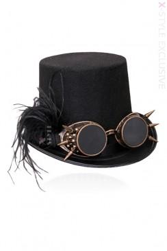 Женская шляпа-цилиндр и гогглы X1151