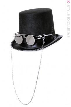 Мужская шляпа-цилиндр с очками и цепью