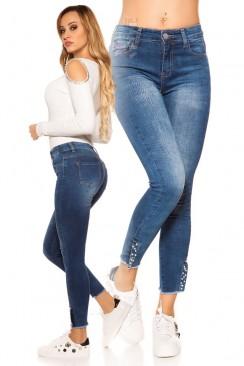 Узкие джинсы с декором внизу MR088