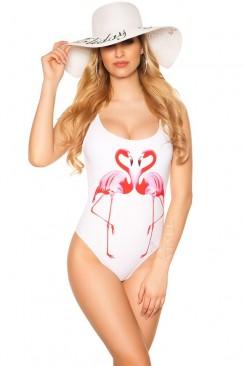 Белый слитный купальник Фламинго MF131