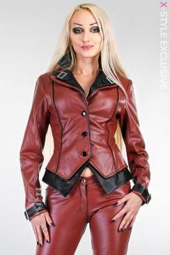 Приталенная кожаная куртка с контрастной отделкой X2024