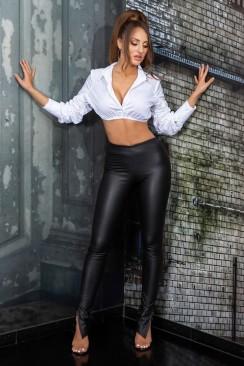 Кожаные брюки-леггинсы с разрезами MF8311