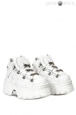 Белые кожаные кроссовки на массивной подошве M106