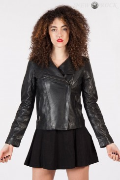 Черная женская куртка из натуральной кожи New Rock