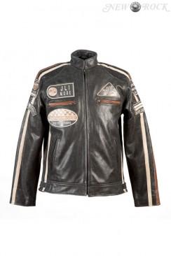 Черная мужская мотокуртка из натуральной кожи New Rock