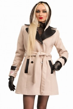 Кашемировое зимнее пальто с капюшоном 115047