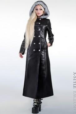 Зимнее кожаное пальто с мехом X-Style