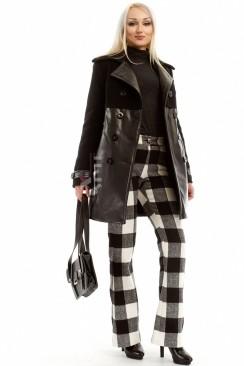 Зимнее женское пальто из кашемира и кожи X-Style