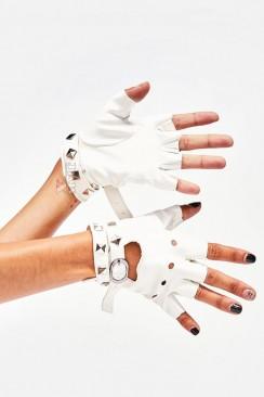 Белые кожаные перчатки без пальцев XT182