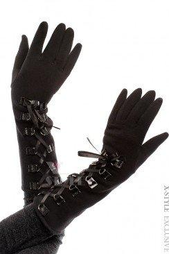 Длинные зимние перчатки со шнуровкой
