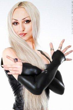 Длинные перчатки из стрейч-кожи XA-081