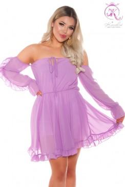 """Лиловое платье Baby Doll с вырезом """"кармен"""""""