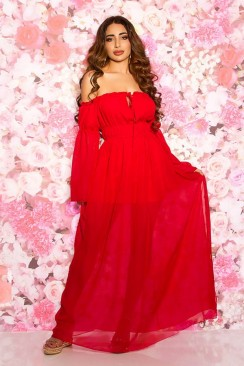 Длинное красное платье с открытыми плечами KC5512