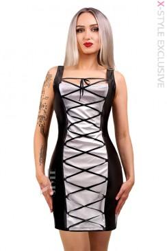 Кожаное платье со шнуровкой X5469