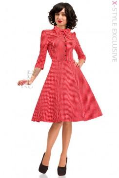 Красное клетчатое платье в стиле Ретро