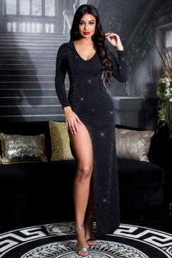 Длинное блестящее платье с разрезом KC5448