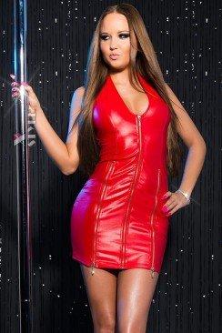 Блестящее красное мини-платье KouCla