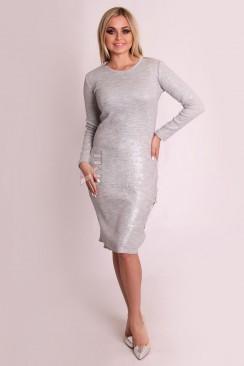 Серебристое вязаное платье XC2582