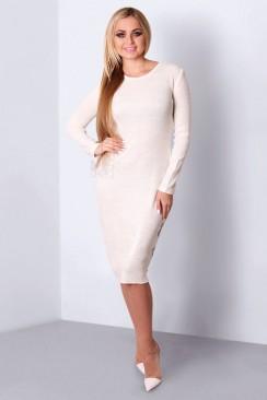 Осенне-зимнее белое вязаное платье XC5285