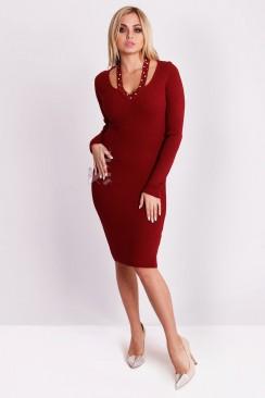 Красное вязаное платье XC5286