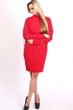 Красное теплое платье с люрексом и вырезом на спине