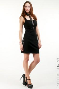 Облегающее платье с декольте и воротником