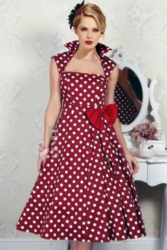 Платье в горошек в стиле Ретро XC323
