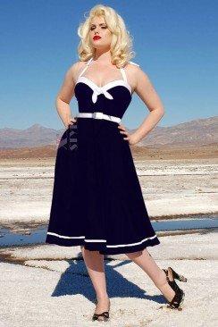 Темно-синее платье Рокабилли