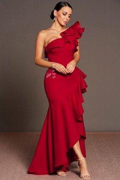 Красное вечернее платье на одно плечо XT5326