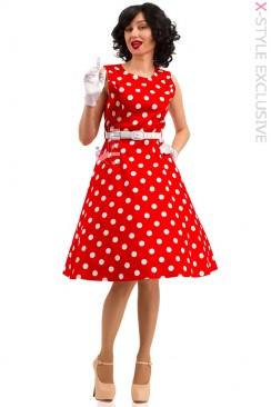 Платье в горох с поясом X5343