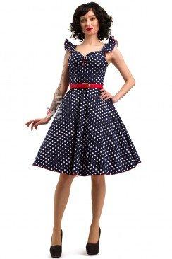 Синее ретро-платье в горошек X5354