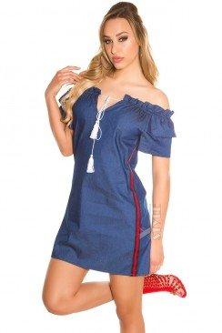 Джинсовое платье с лампасами по бокам