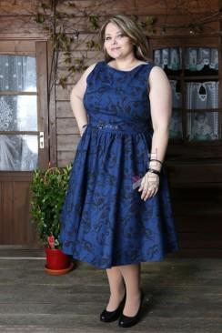 Синее платье в стиле Ретро (2XL-4XL)