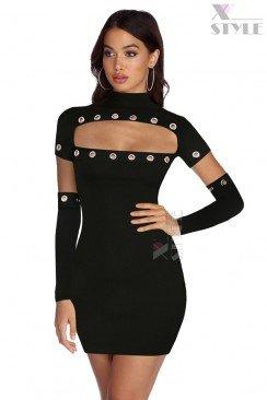 Откровенное черное платье с перчатками X7159