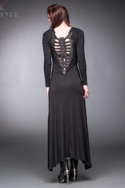 Длинное платье со скелетом на спине