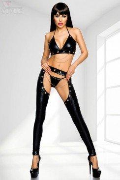 Сексуальный комплект под кожу с цепочками