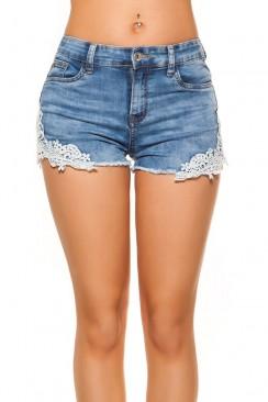 Короткие джинсовые шорты с кружевом MF912
